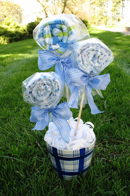 Baby shower bouquet thecraftpatchblog and the burp cloths look like lollipops so fun i saw something similar on etsy and fell in love with it so this is my rendition negle Choice Image