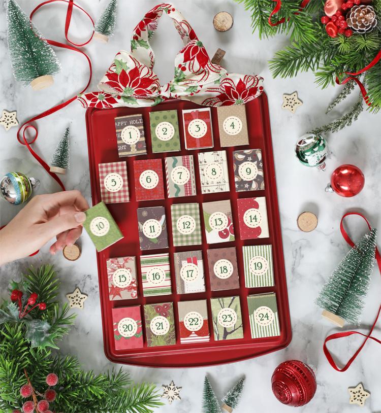cookie sheet matchbox DIY christmas advent calendar