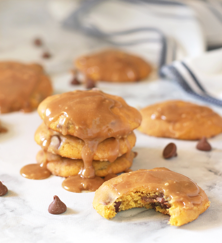 pumpkin chocolate chip cookie with caramel glaze