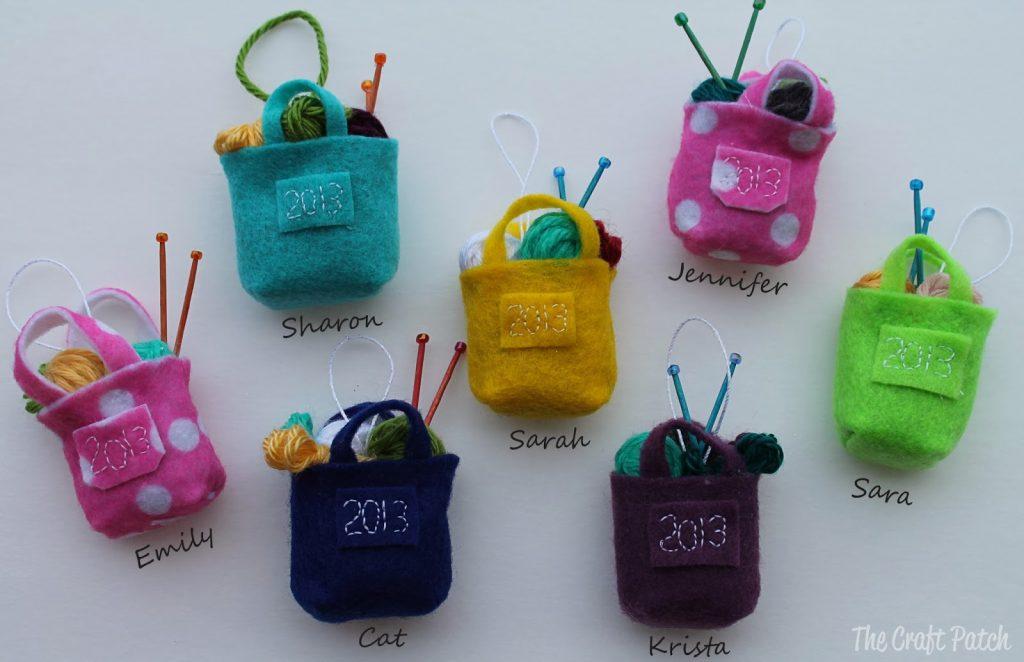 Miniature Knitting Bag Christmas Ornament - thecraftpatchblog.com