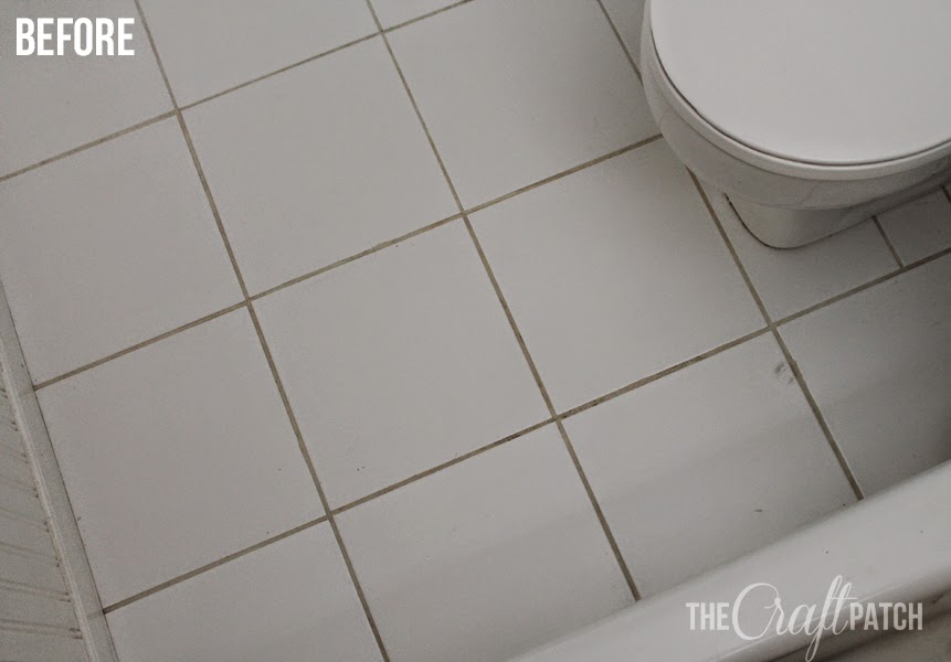 98c400b3db24 How To Make Dirty Bathroom Grout Look Like New! - thecraftpatchblog.com
