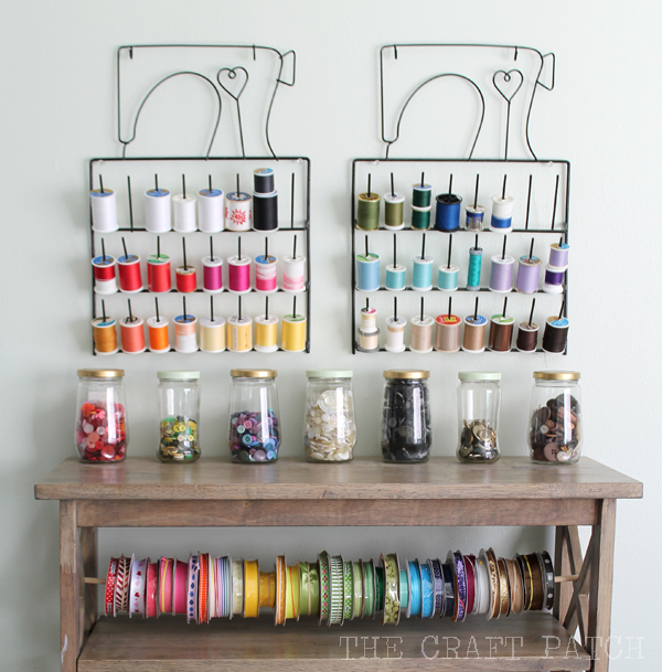 Ribbon, Button and Thread Organized By Color