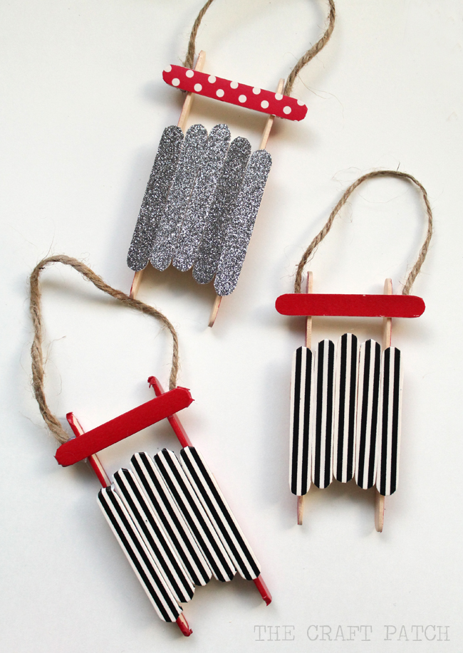 Popsicle Stick Sled Ornament With Washi Tape