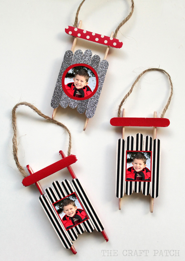 Lollipop Stick Christmas Decorations.Easy Popsicle Stick Sled Diy Ornament With Photo