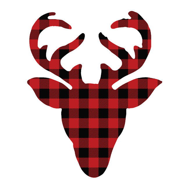 Red and Black Buffalo Check Deer Head
