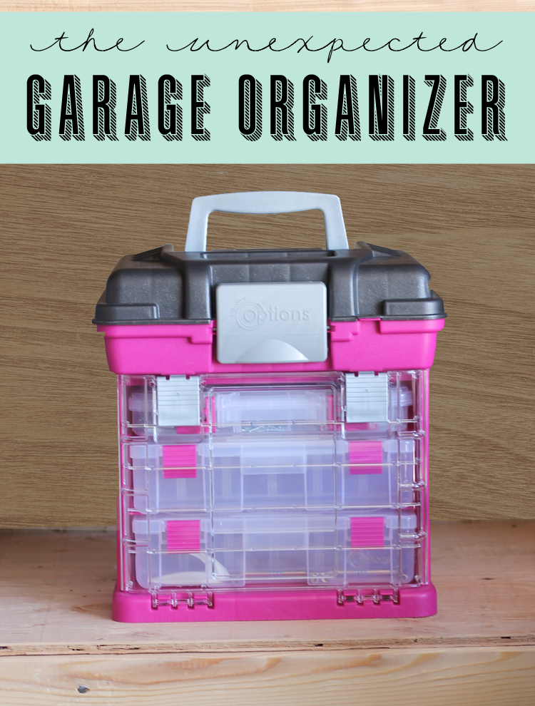 Use a craft organizer in the garage to hold tools and sort hardware