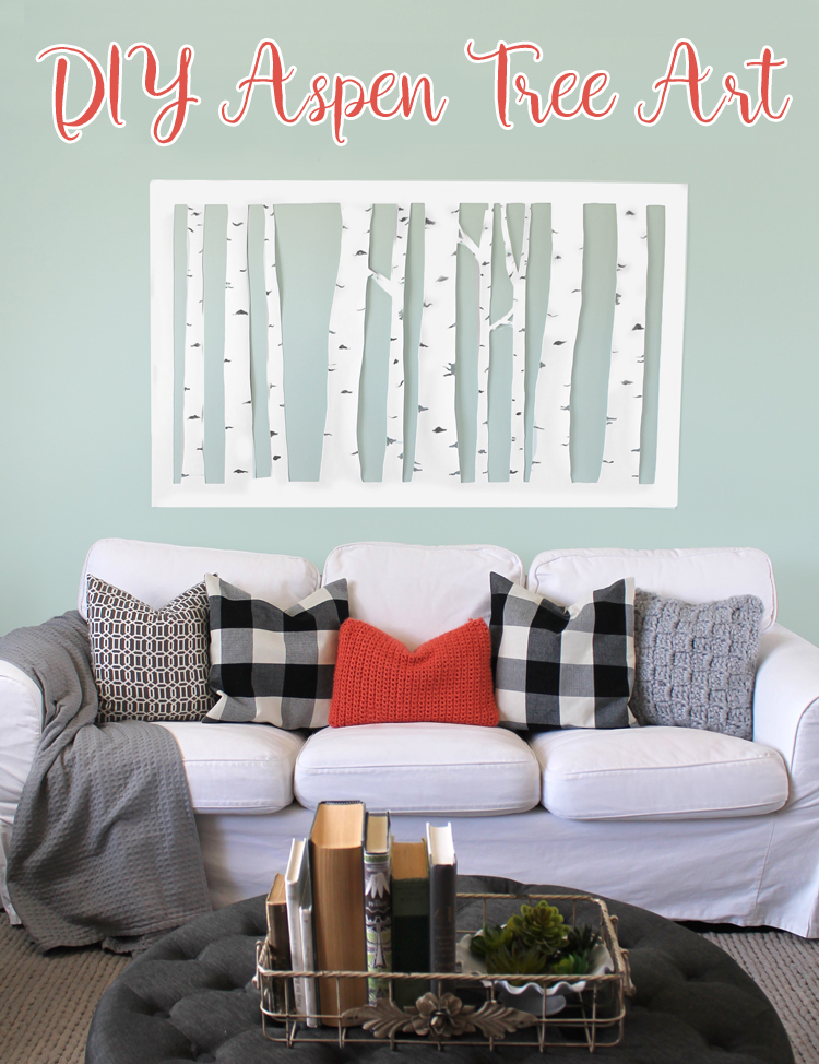 Large, Inexpensive DIY Aspen Tree Wall Art - thecraftpatchblog.com