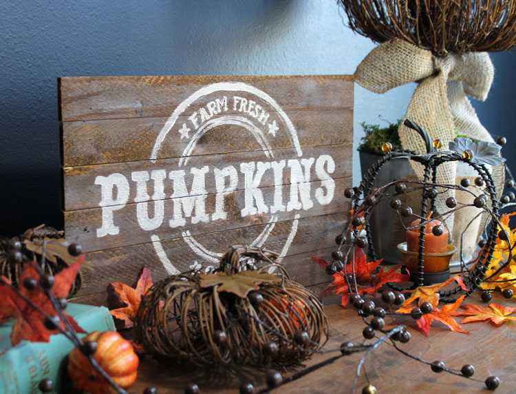 pallet wood farm fresh pumpkins diy vintage sign