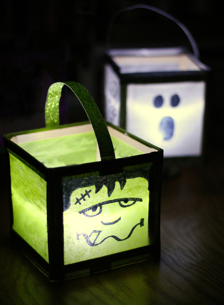 DIY Halloween porch decor luminaries