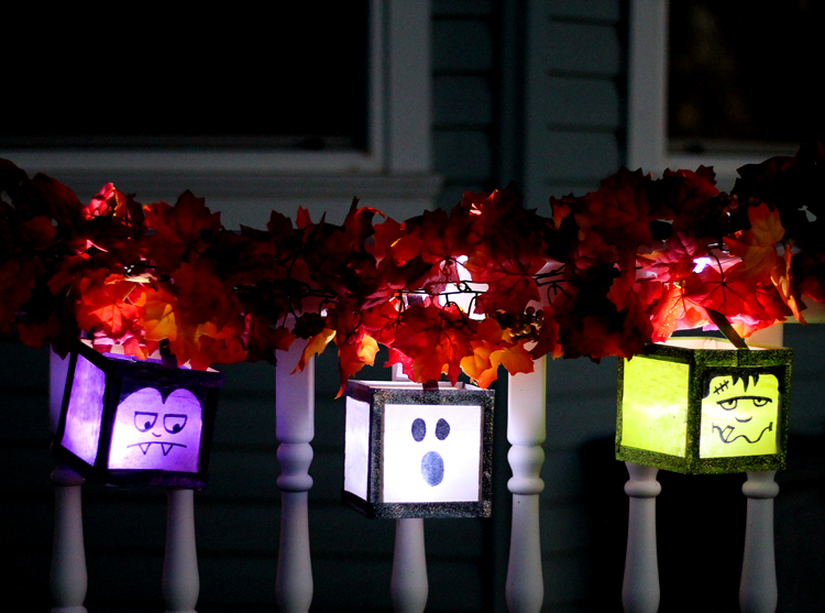 glowing monster luminaries for Halloween