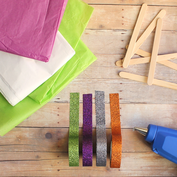 washi tape tissue paper and popsicle stick craft for Halloween
