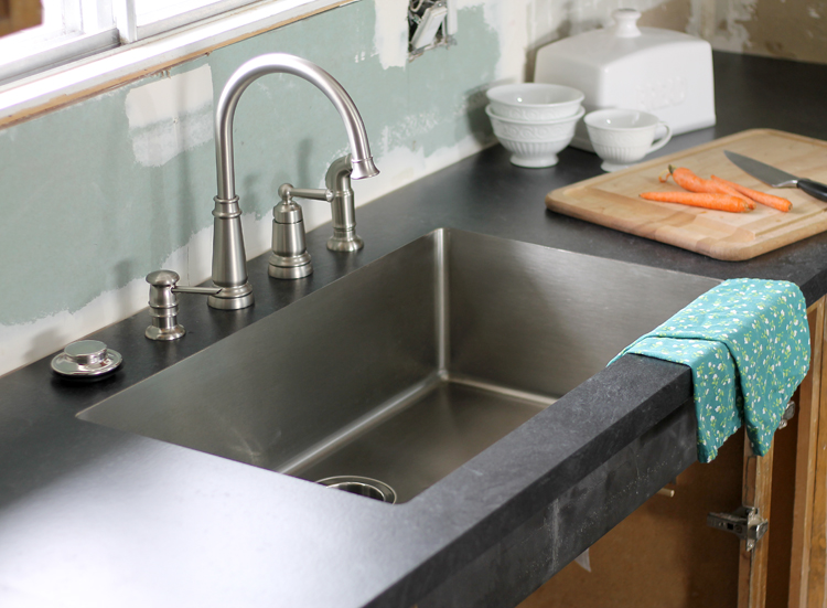 An Undermount Sink in Laminate Countertops - thecraftpatchblog.com on farmhouse sink with laminate, kitchen ideas with laminate, kitchen backsplash with laminate, undermount sink with formica counters, undermount sink laminate top, drop in sink with laminate,