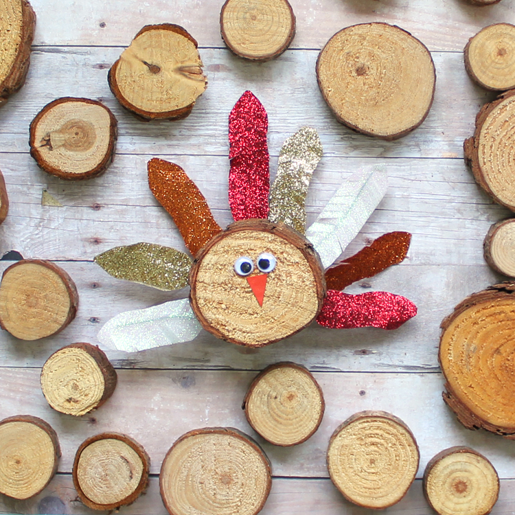 wood slice turkey thanksgiving craft