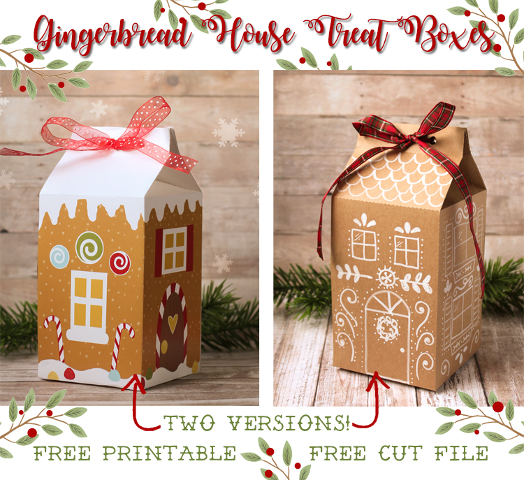 Christmas Gingerbread House Printables.Gingerbread House Treat Box Free Printable And Cut File