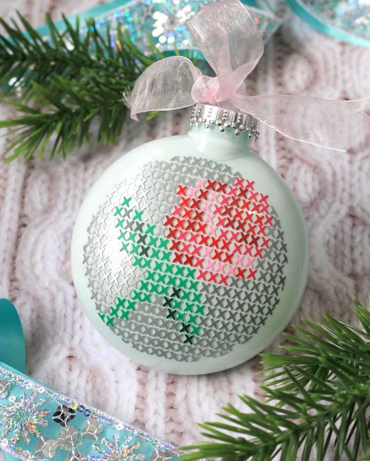 clear glass ornament decorating idea - Cross Stitch Christmas Decorations