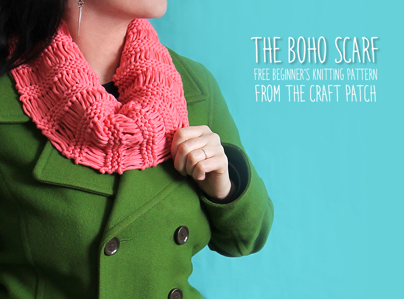 The Boho Scarf (Free Knitting Pattern) - thecraftpatchblog.com