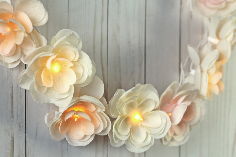 Diy floral garland with lights thecraftpatchblog i used the silk flowers to make a lighted garland diy decoration mightylinksfo