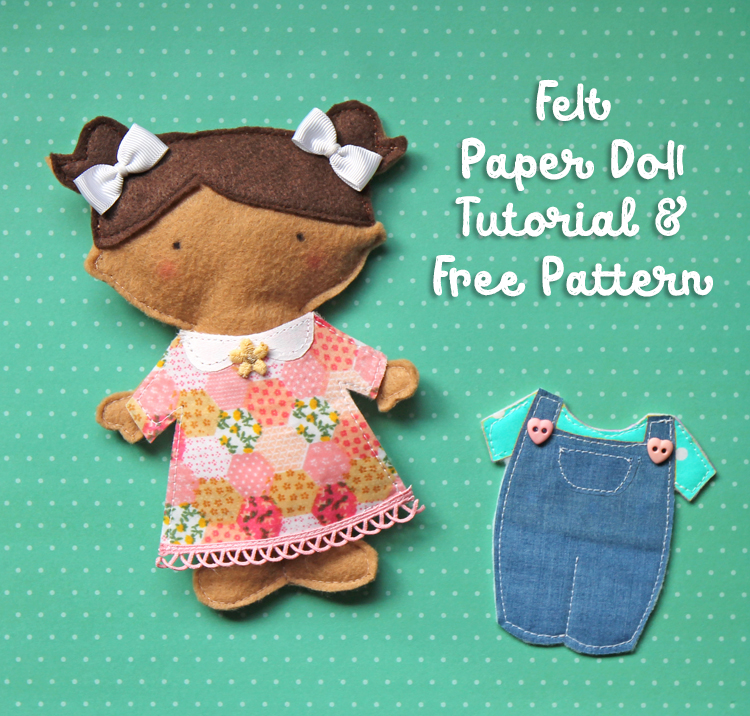 Free pattern to make a felt paper doll on your sewing machine.
