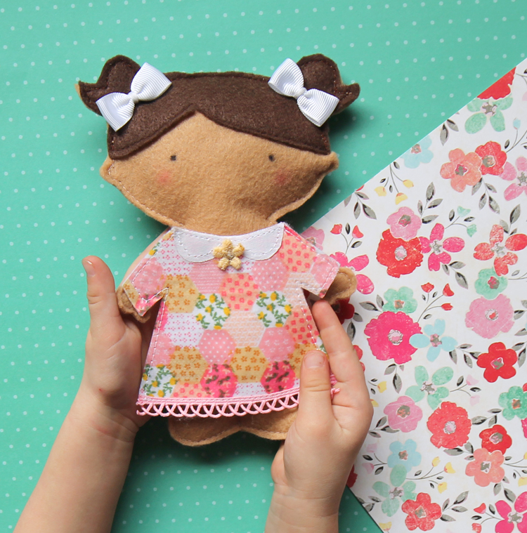 A fun sewing project to make an adorable felt doll