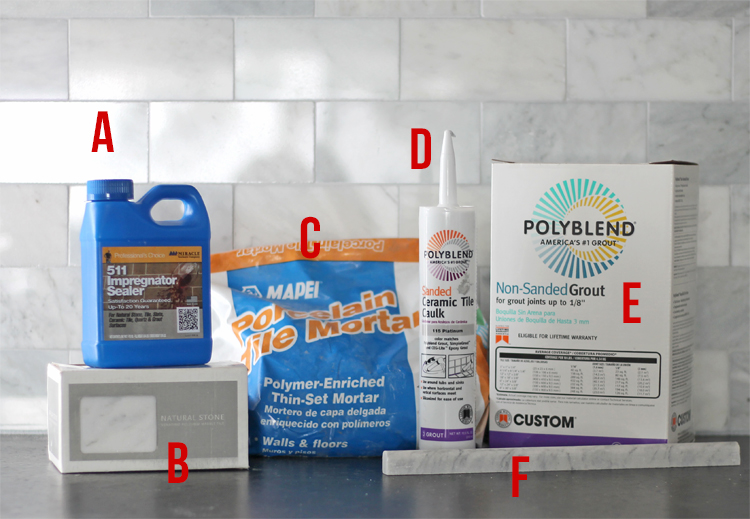 Marble backsplash tile mortar, grout and sealer