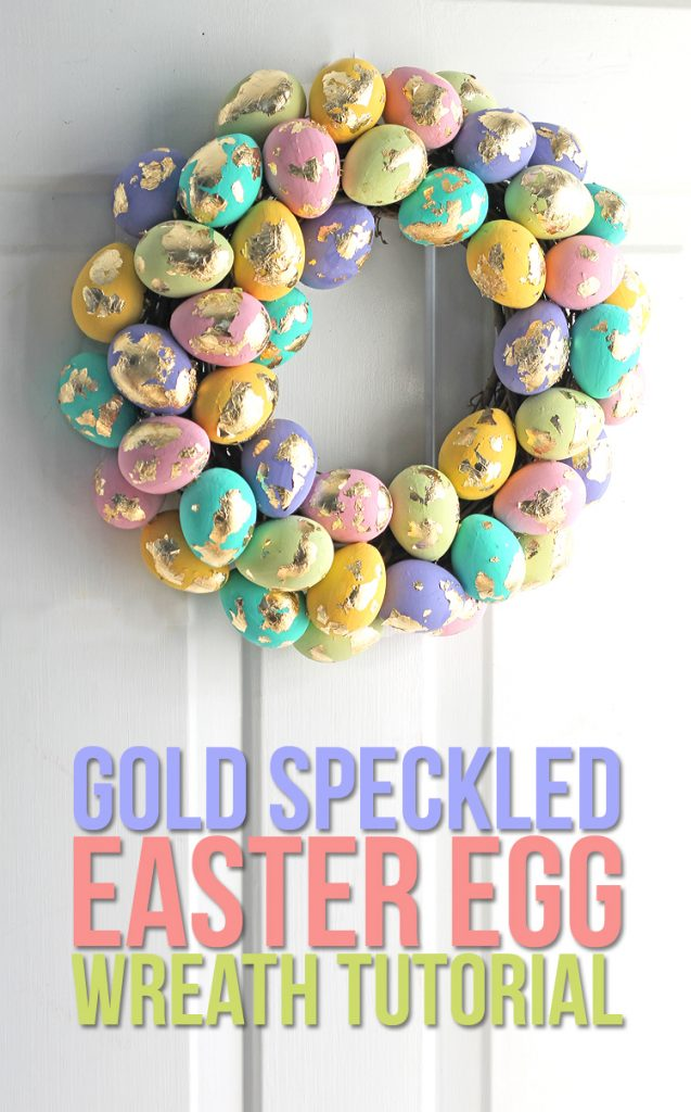 Gold speckled Easter egg wreath tutorial