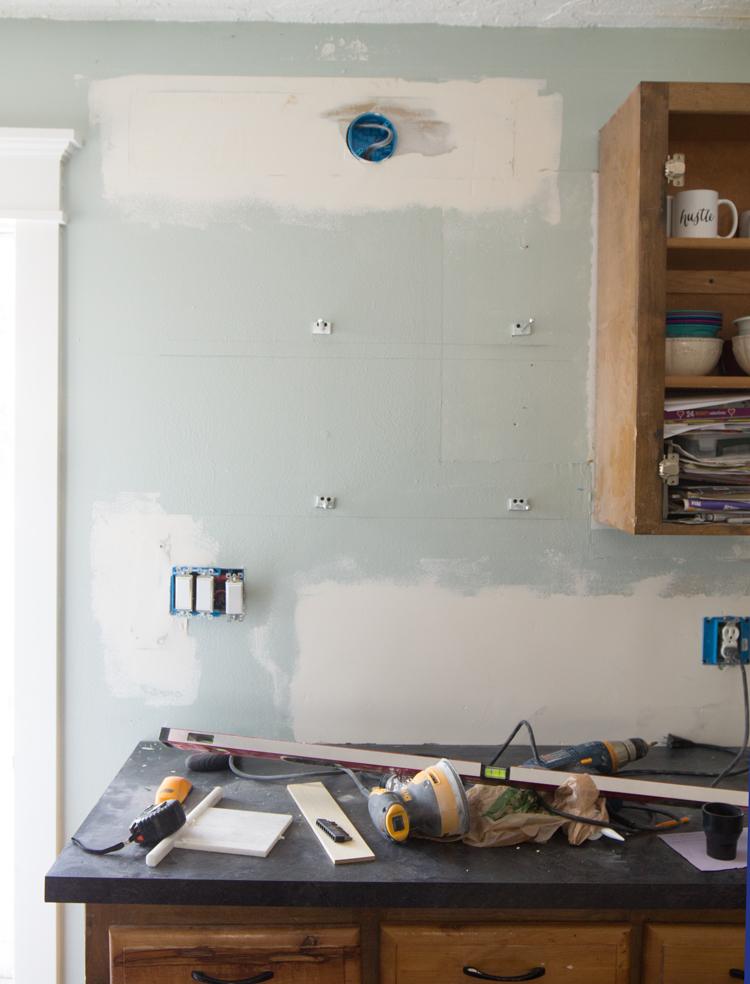 How To Install Floating Kitchen Shelves Over A Tile Backsplash