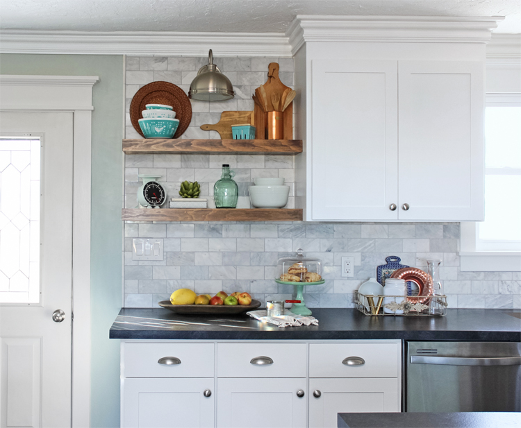 Floating Wall Shelves in a Kitchen