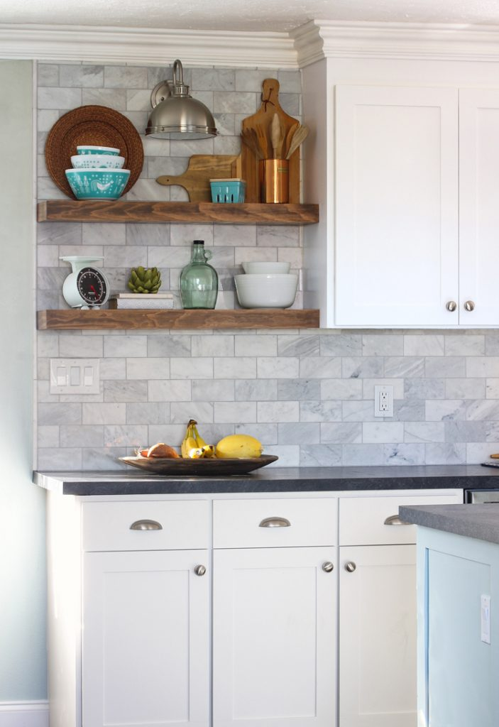 How to Install Floating Kitchen Shelves Over A Tile Backsplash ...