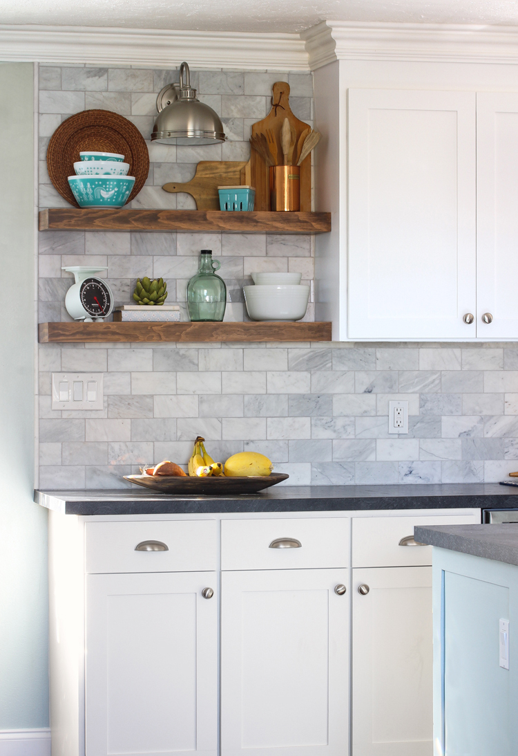 How to install floating kitchen shelves over a tile backsplash thecraftpatchblog com
