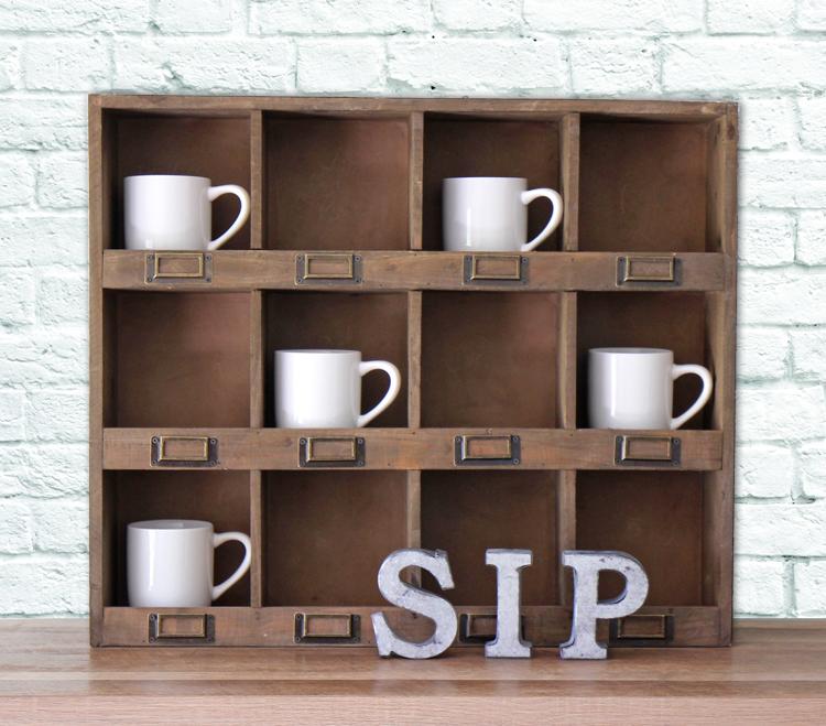 Display your mugs on this pretty barn wood shelf