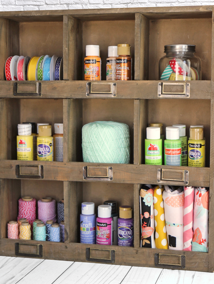 Cubby shelf for organizing craft supplies