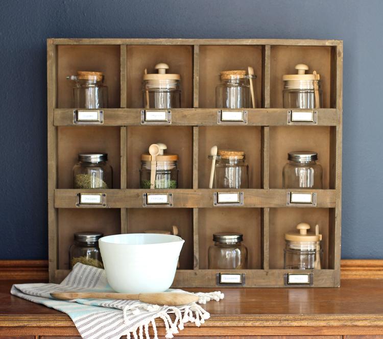 Vintage inspired spice rack