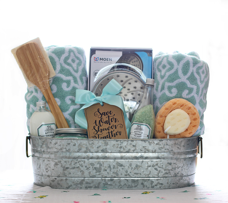 Shower themed diy wedding gift basket idea thecraftpatchblog today im sharing a wedding gift basket idea that hits the trifecta of gift perfection its pretty its funny and its useful negle Choice Image