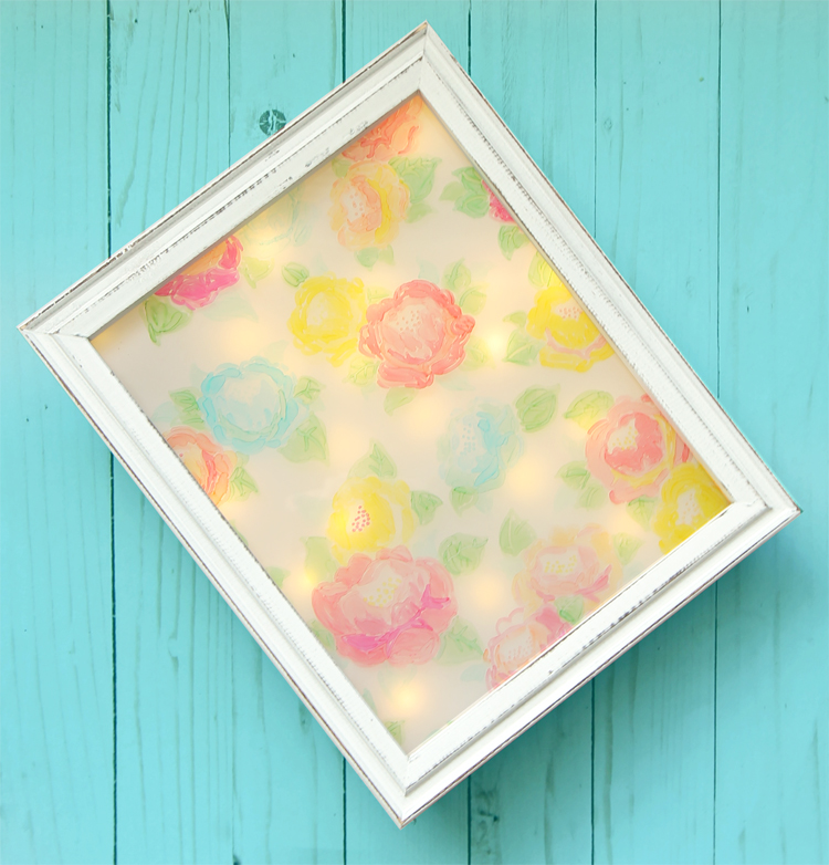 DIY Girls room decor. Create a pretty floral picture that doubles as a night light
