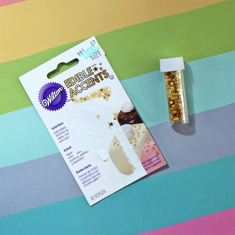 Gold star edible sprinkles from Hobby Lobby