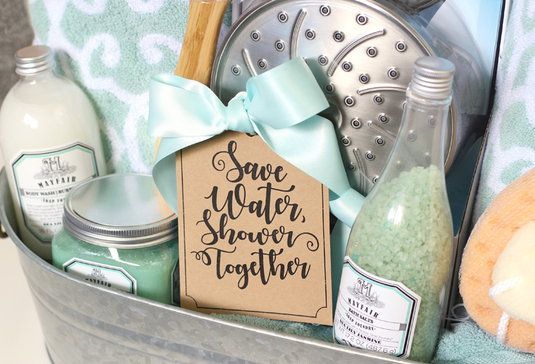 Shower themed diy wedding gift basket idea thecraftpatchblog i crack myself up with the gift tag save water shower together come on you know thats funny and so perfect for newlyweds solutioingenieria Choice Image