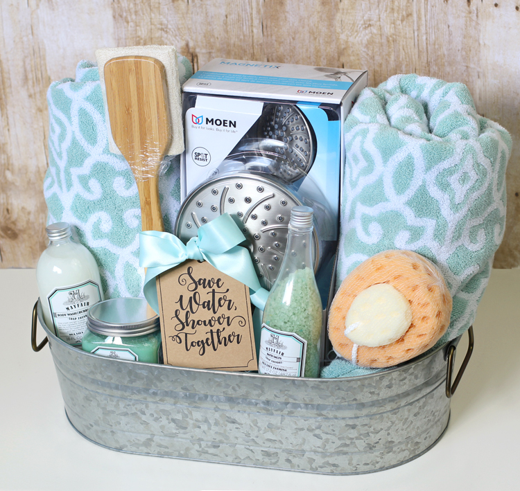 Shower Themed DIY Wedding Gift Basket Idea - The Craft Patch