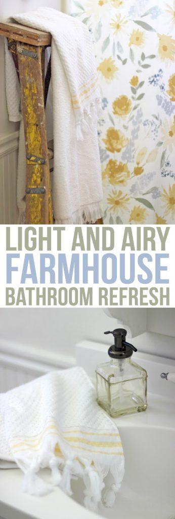 Modern floral farmhouse bathroom decorating ideas. Such a pretty light and bright bathroom update!