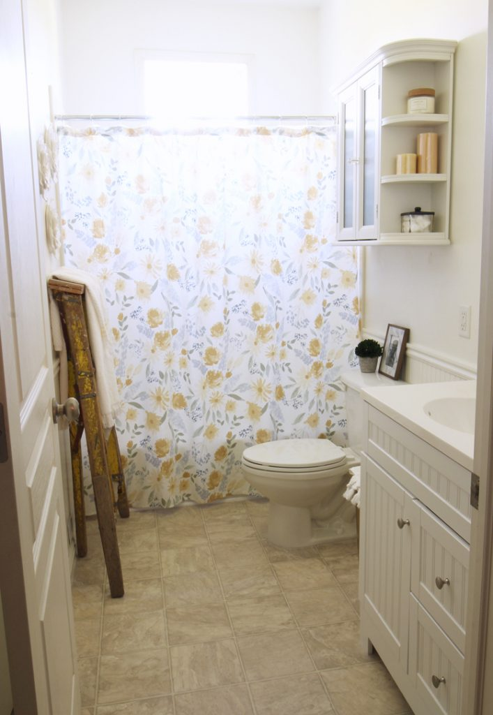 Weu0027re Both Pretty Excited With What We Were Able To Pull Together With Just  One Trip To Target. Hereu0027s Our Light And Airy Floral Farmhouse Bathroom:
