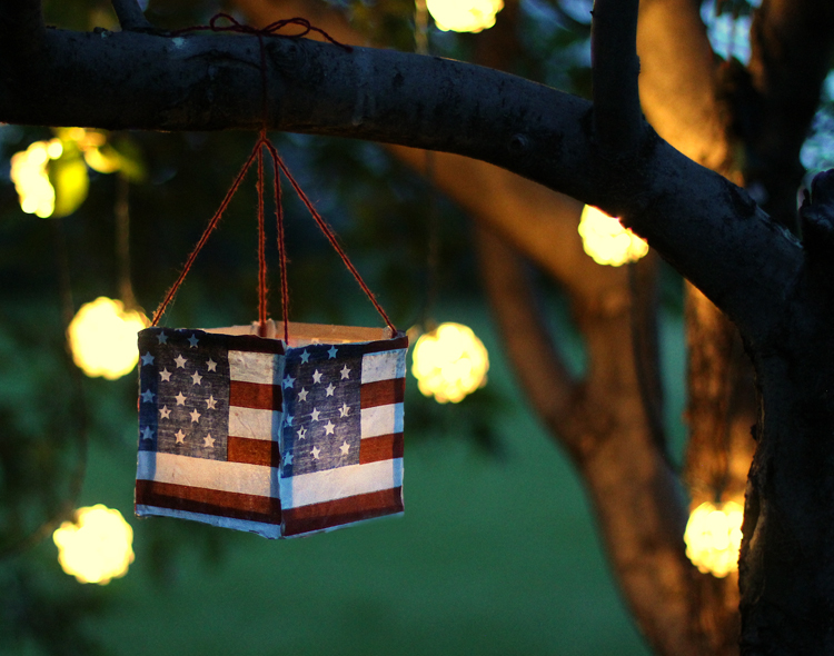 DIY your own patriotic flag luminaries!