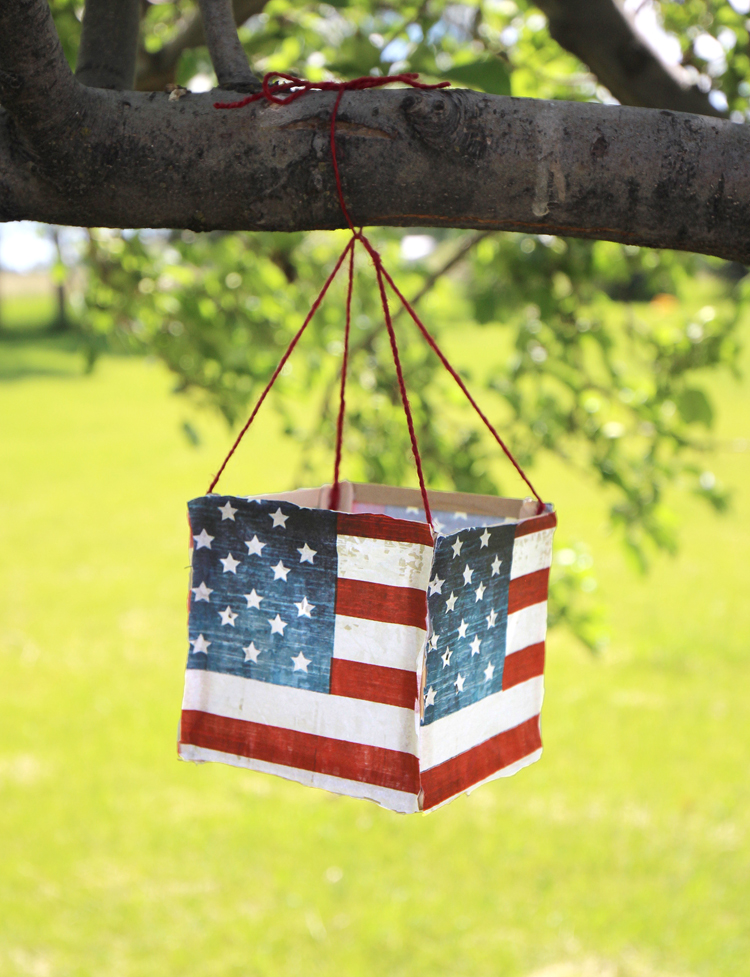 Make this fun red, white and blue luminary