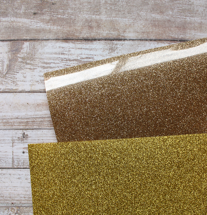 The color comparison between Old Gold and Gold Expressions Vinyl Glitter HTV