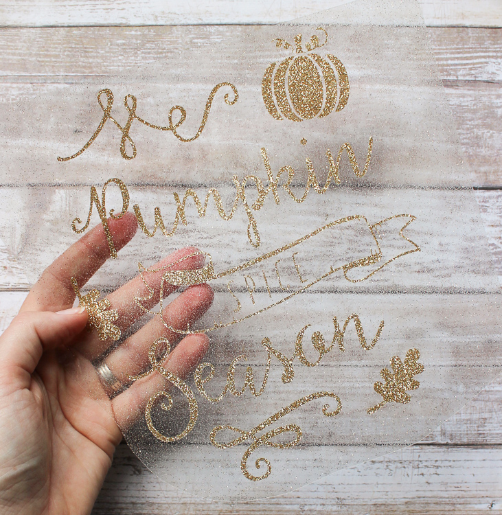 Add sparkle to a tea towel for fall with this easy fall craft idea