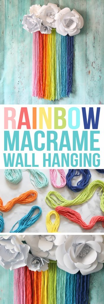 This easy rainbow craft features a rainbow yarn macrame wall hanging topped with paper flower clouds.