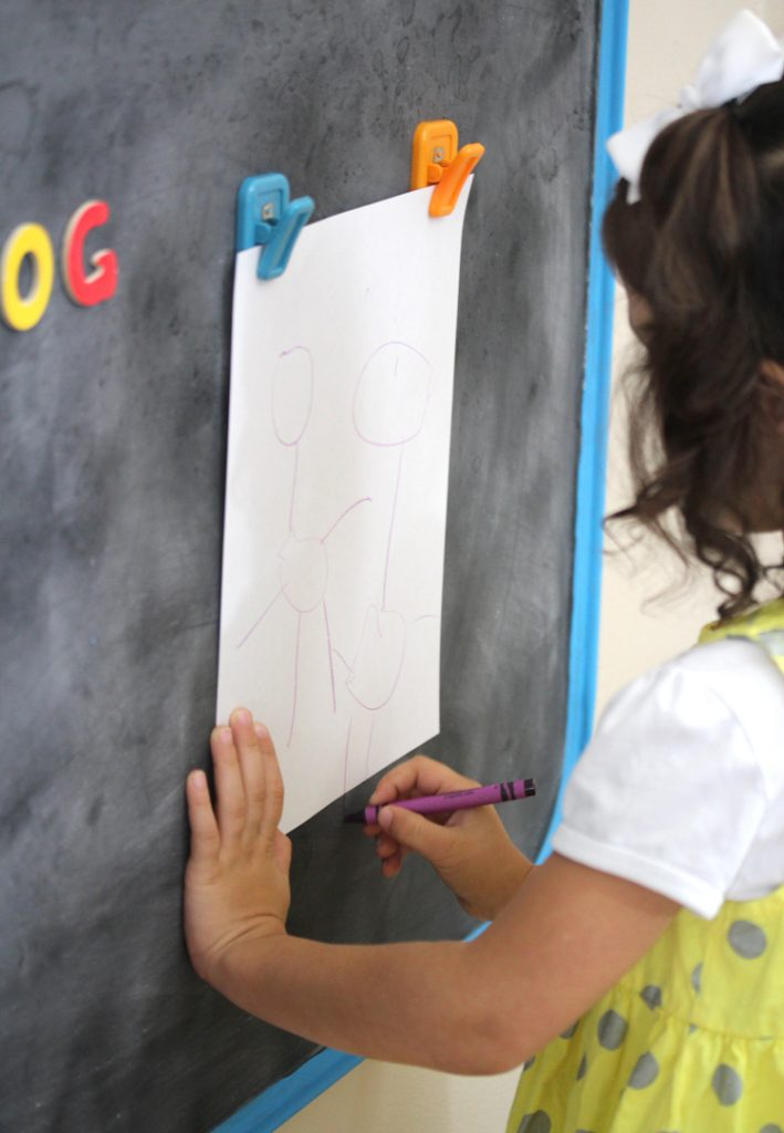 How to make a large magnetic chalkboard art station
