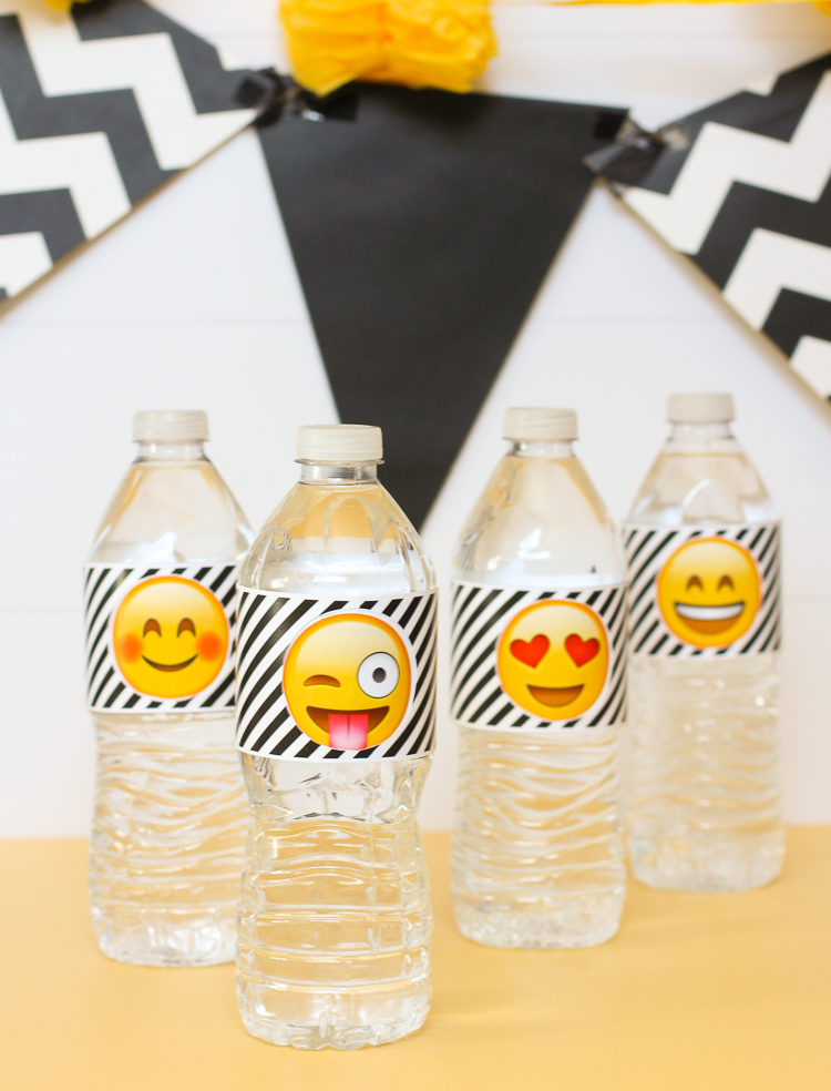 photograph about Free Printable Emojis titled Emoji Occasion Drinking water Bottle Labels -
