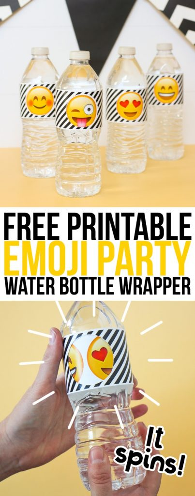 Free printable emoji party water bottle labels that spin to reveal different emoji faces! So fun!
