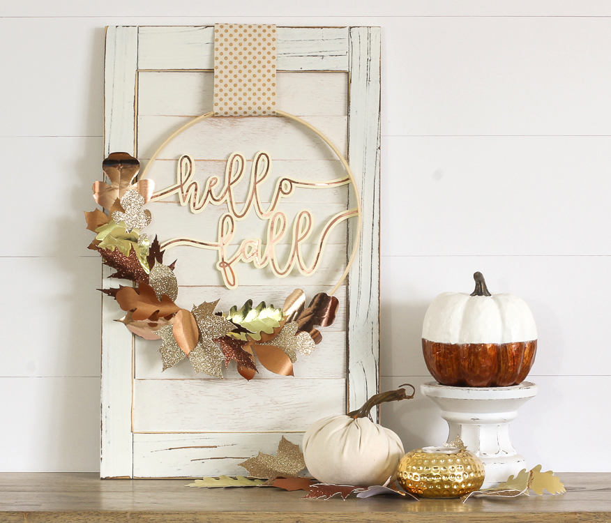 Diy Fall Wreath With Mixed Metallic Paper Leaves The Craft Patch