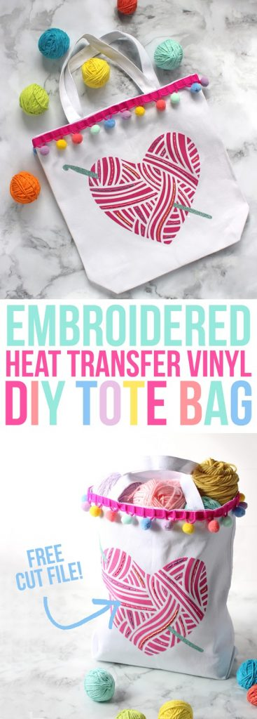 Looking for a fun craft idea? Make this custom tote bag with heat transfer vinyl and embroidery floss. Silhouette Cameo project ideas.