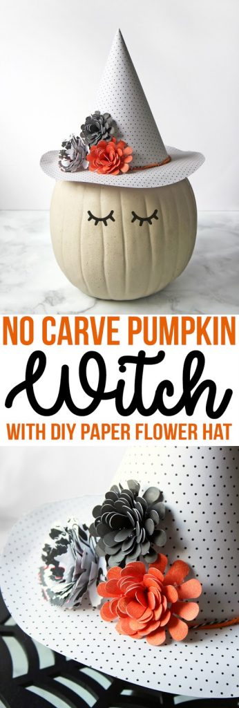 This no-carve pumpkin decorating idea features an adorable witch with a floral and polka dot hat made of paper. Easy and cute Halloween pumpkin decorating ideas.